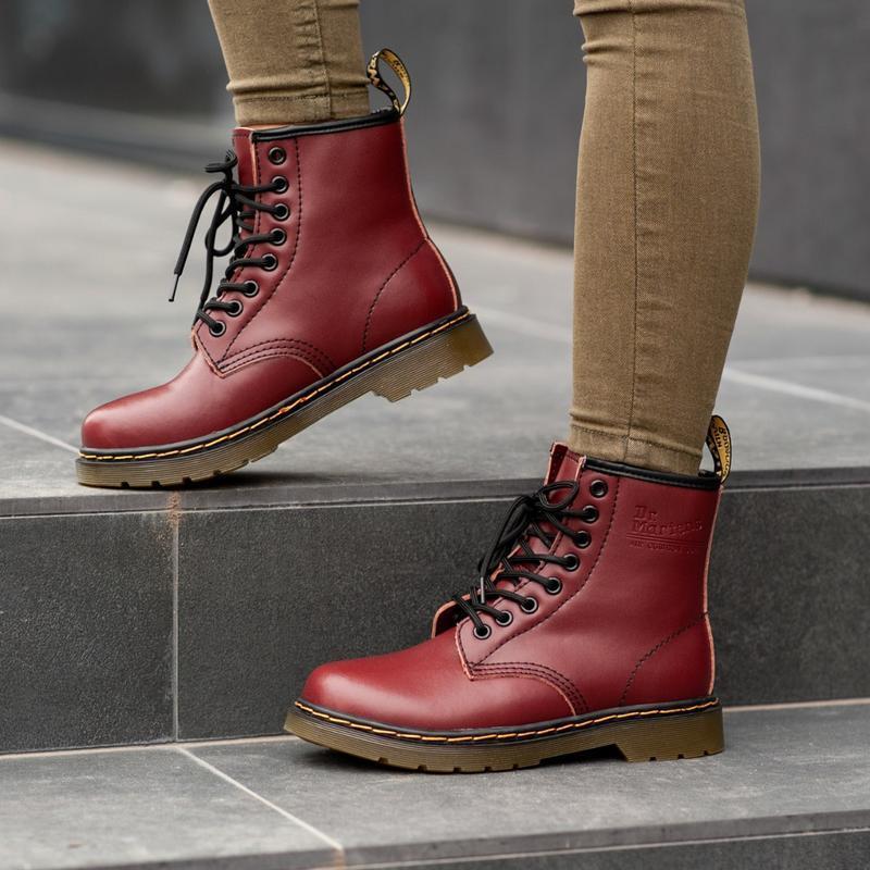 Dr. martens 1460 cherry fur мужские зимние ботинки с мехом бор...