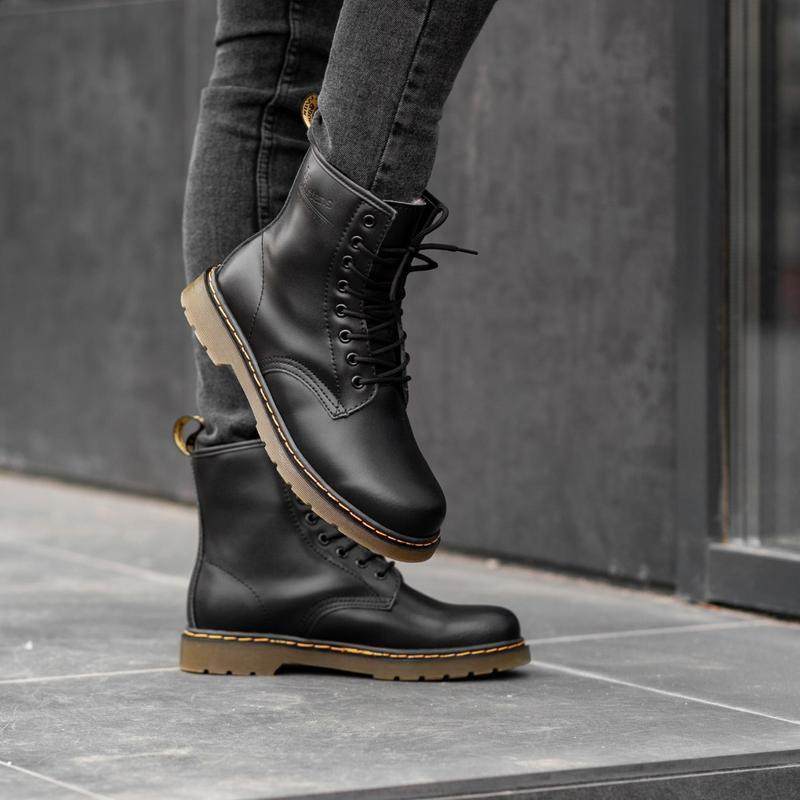 Dr. martens 1460 black fur женские зимние ботинки с мехом чёрн...