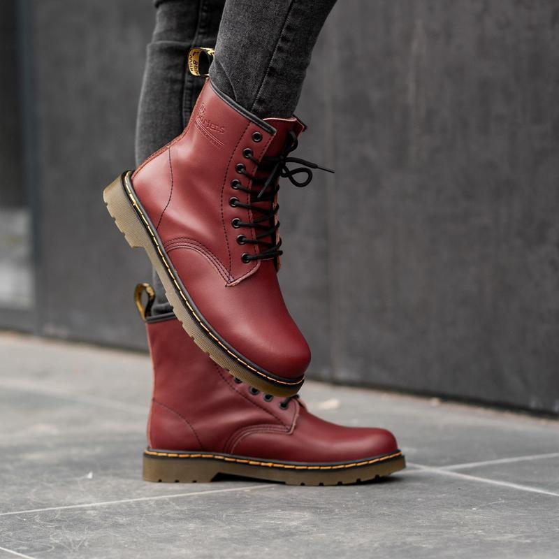 Dr. martens 1460 cherry fur женские зимние ботинки с мехом бор...