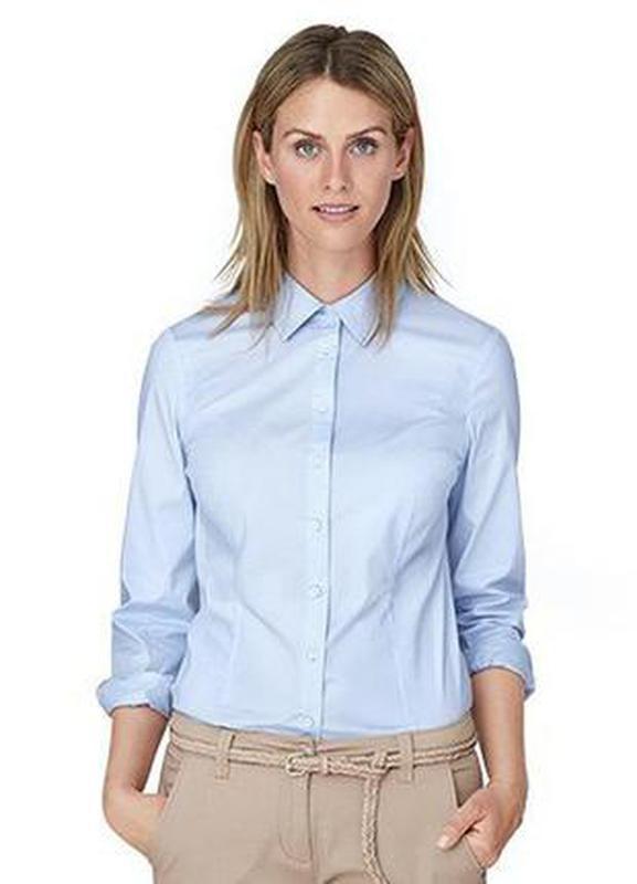 Блуза рубашка голубого цвета,классика, tcm, tchibo, евро р-р 4...