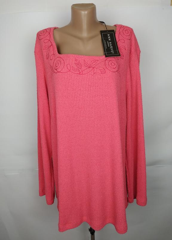 Кофта джемпер новая розовая с вышивкой большой размер uk 26/54...