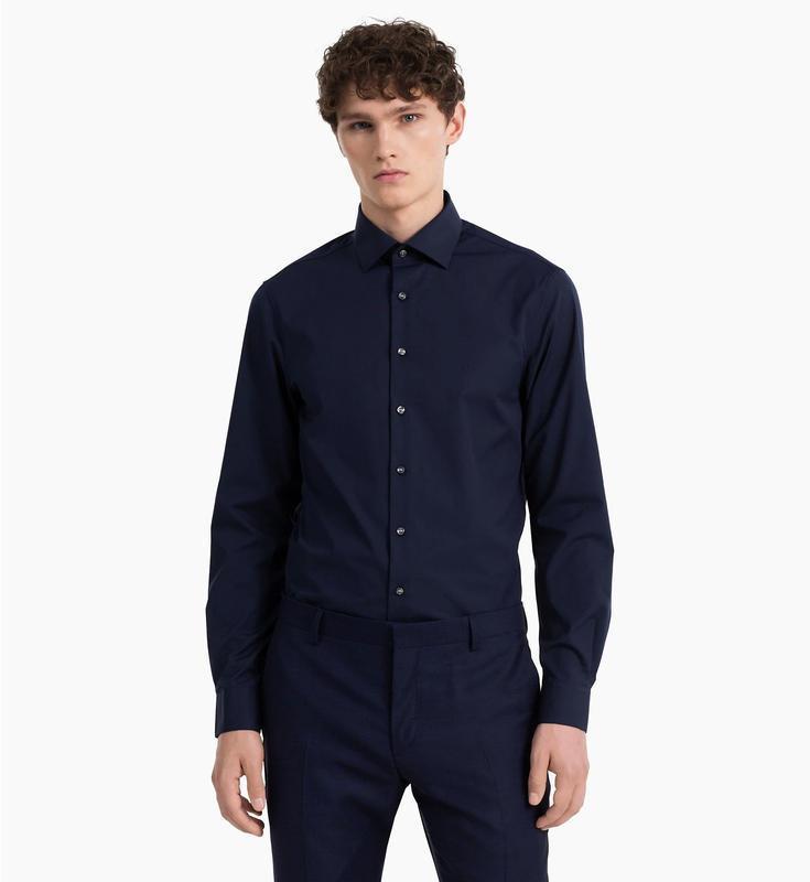Рубашка чернильно-синяя текстурная 'calvin klein' 54-56р