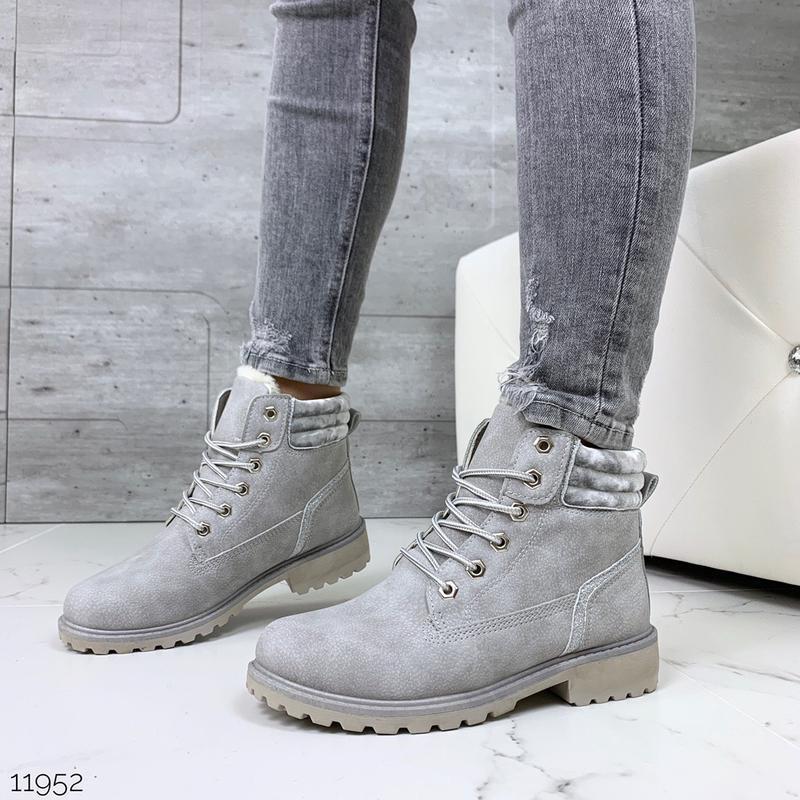 Зимние спортивные ботинки на низком каблуке,серые ботинки на м...