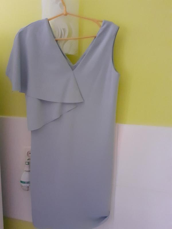 Серо голубое платье из плотной ткани cos