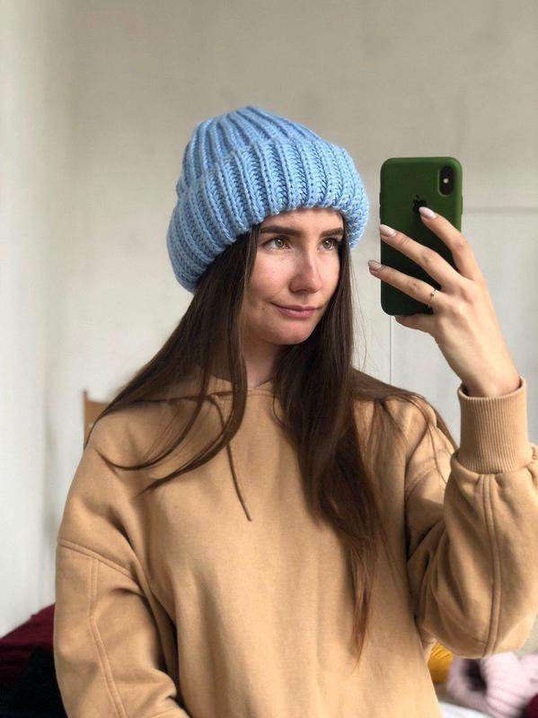 Объемная шапка такори с отворотом