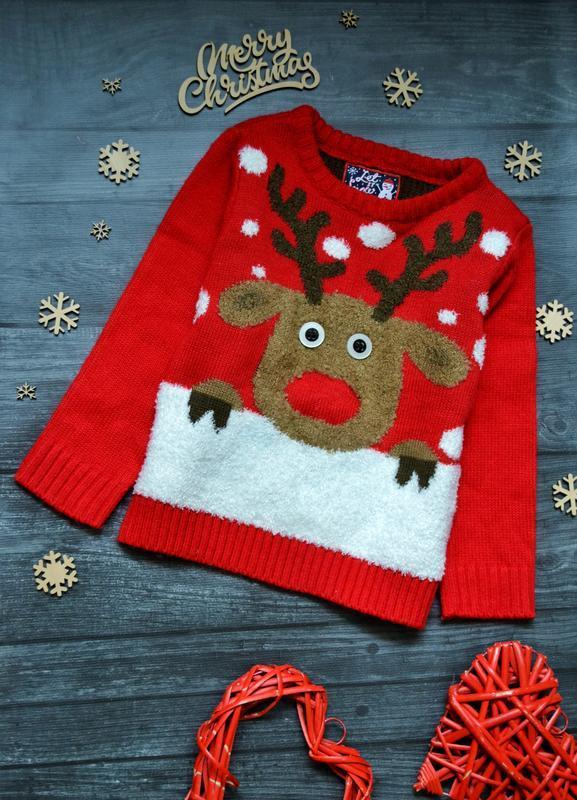 Офигенный новогодний свитер светится f&f 2-3года