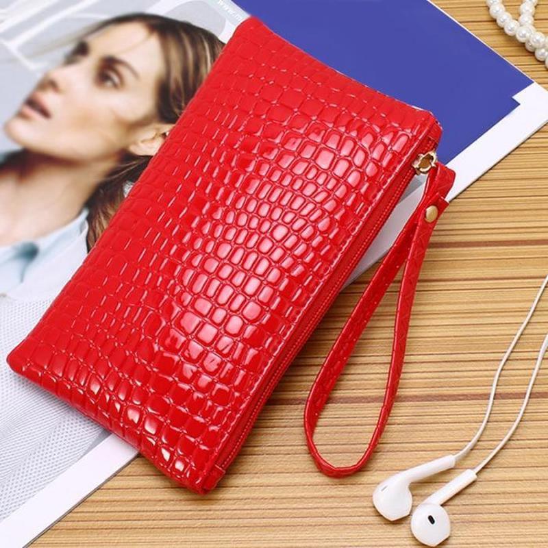 Красный клатч кошелек косметичка сумка женский лаковый на молн...