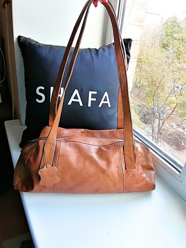 Кожаная коричневая сумка на длинных ручках 100% кожа lilley & ...