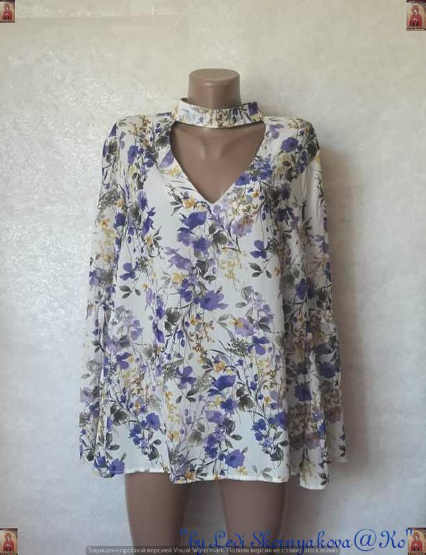 Фирменная george лёгкая блуза в цветочный принт с чокером с ру...