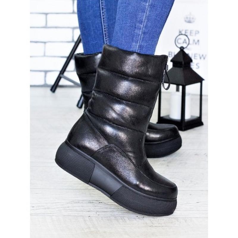Новые женские кожаные черные зимние дутики сапоги