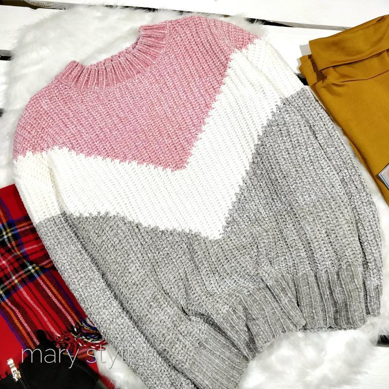 Трехцветный теплый свитер велюровый велюр - Фото 2