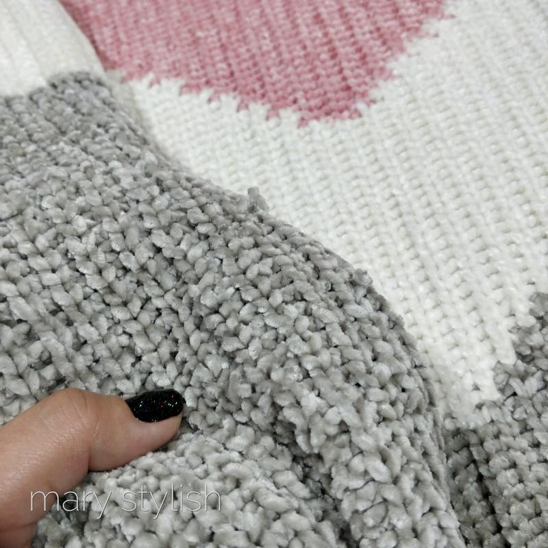 Трехцветный теплый свитер велюровый велюр - Фото 3