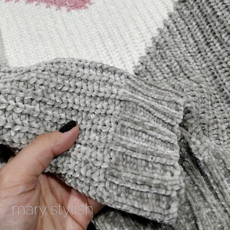 Трехцветный теплый свитер велюровый велюр - Фото 5