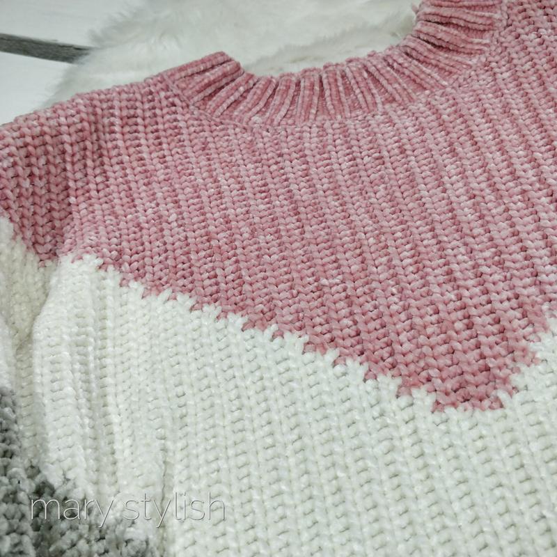 Трехцветный теплый свитер велюровый велюр - Фото 6