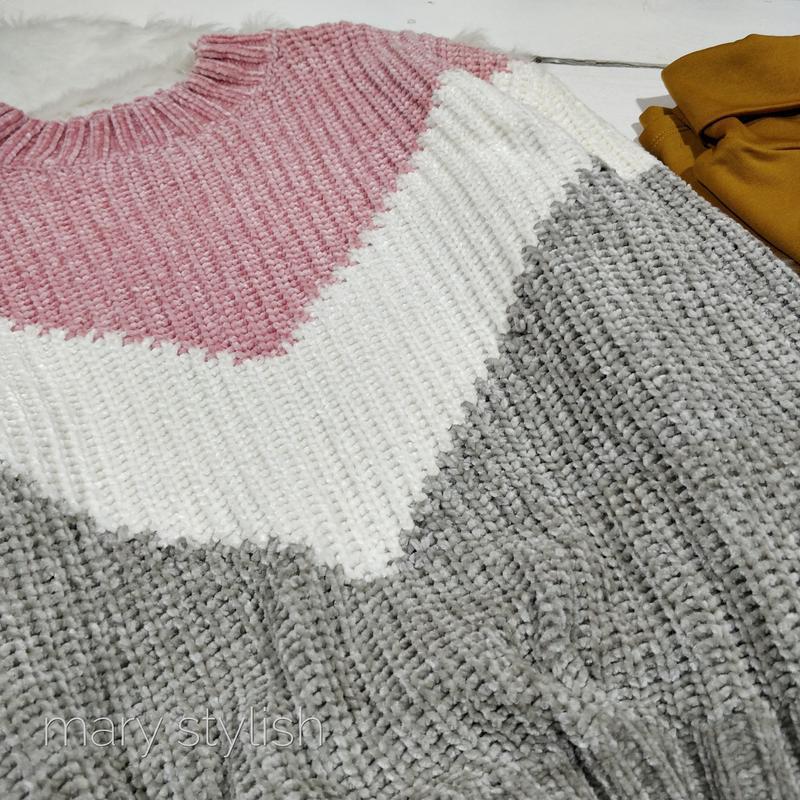 Трехцветный теплый свитер велюровый велюр - Фото 7