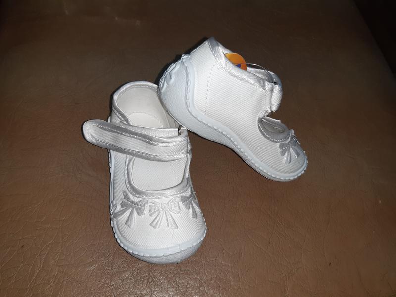 Белые текстильные туфли на девочку 18 р. 11 см viggami