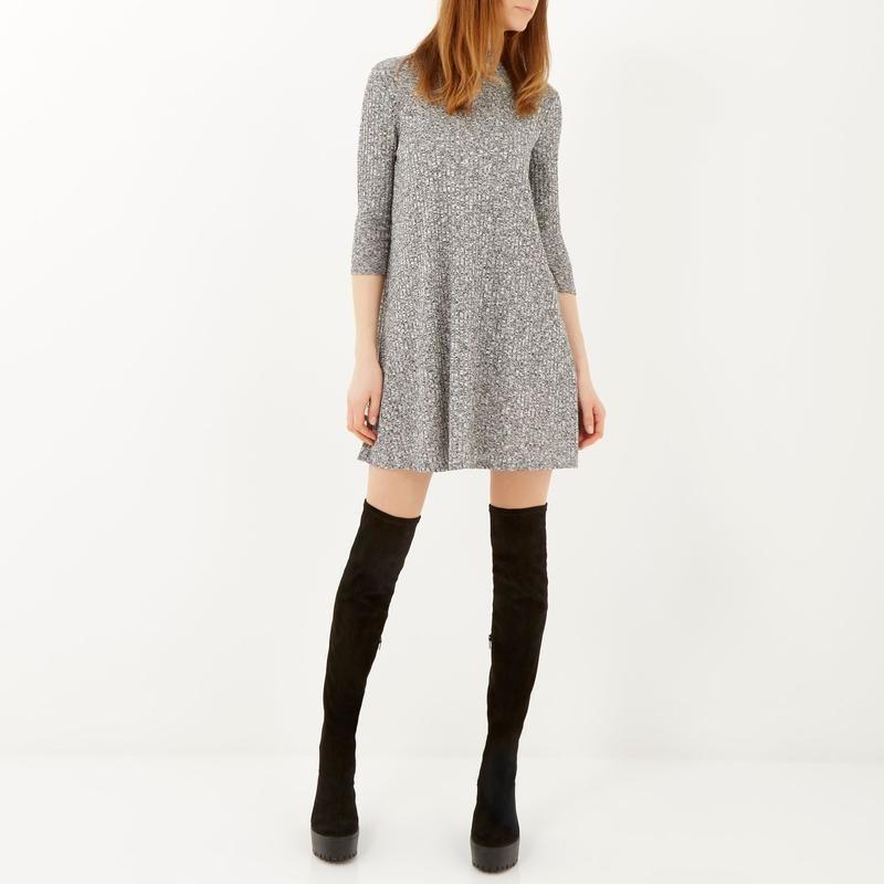 Платье-трапеция мини в рубчик/сукня-трапеція/плаття міні в рубчик