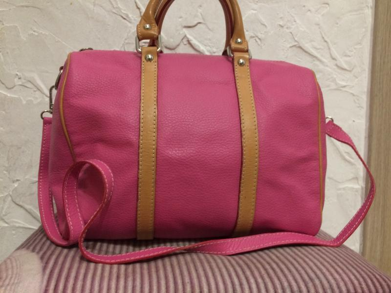 Яркая сумка боченок 100% кожа италия