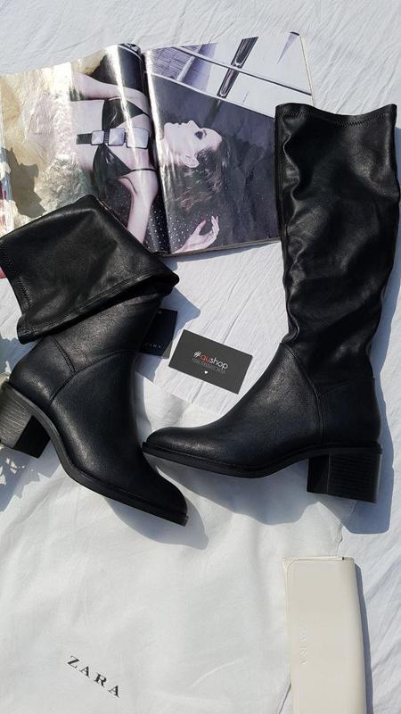 Високі чоботи з шкіряною устілкою, zara! оригінальні, з німечч...