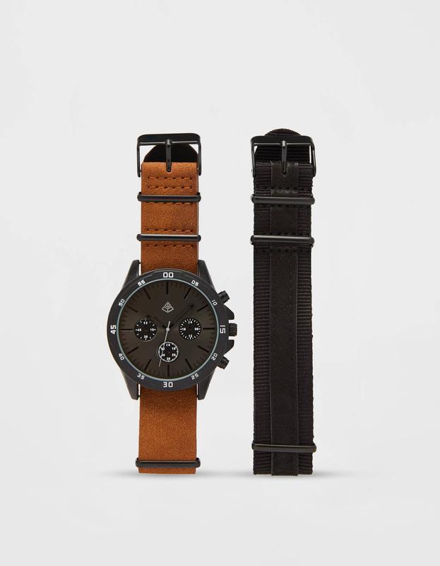 Часы со сменными ремешками (два в комплекте), bershka! оригина...