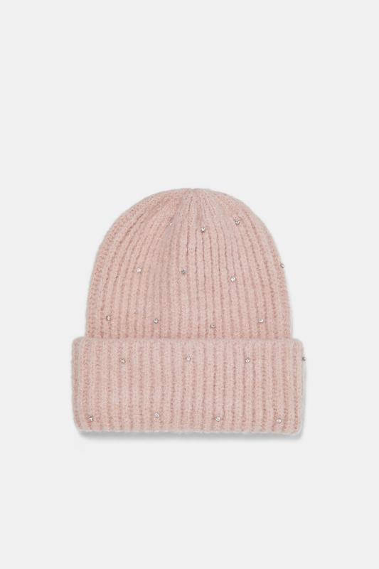 Тепла шапка-біні зі стразами zara! оригінальна, з німеччини!