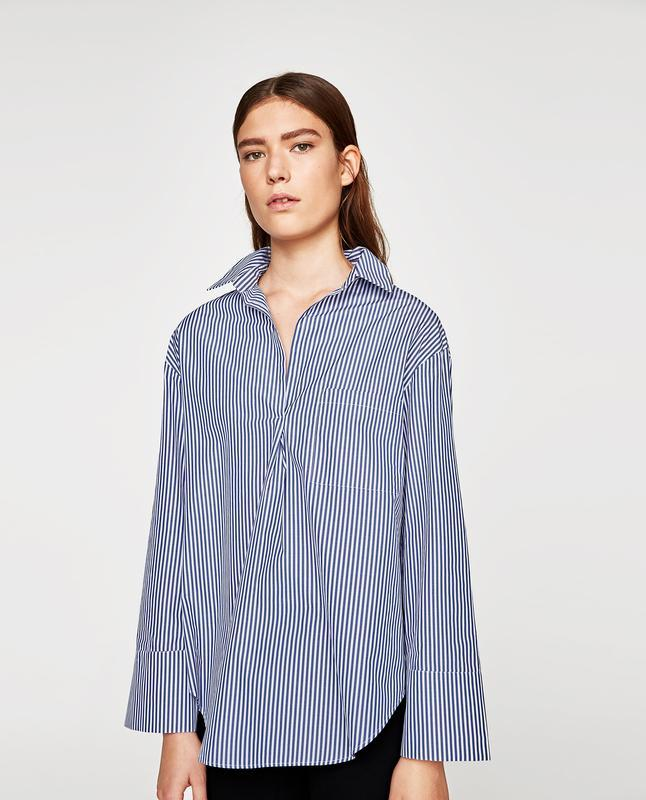 Оверсайз рубашка блуза в полоску zara
