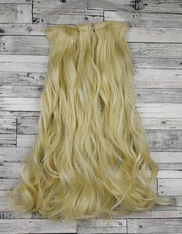 Трессы волосы на заколках блонд 613 5181 на клипсах набор волн...