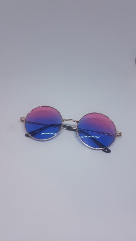 Солнцезащитные / имиджевые очки круглые цветные розово-синие