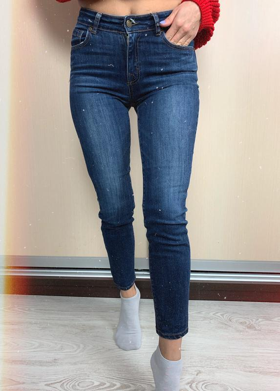🌿 синие базовые джинсы скинни с высокой посадкой bershka