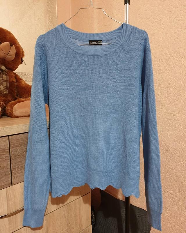 Свитер фирменный/голубой свитерок/мягкий свитер/janina