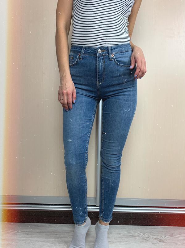 🌿 синие базовые джинсы скинни с высокой посадкой zara