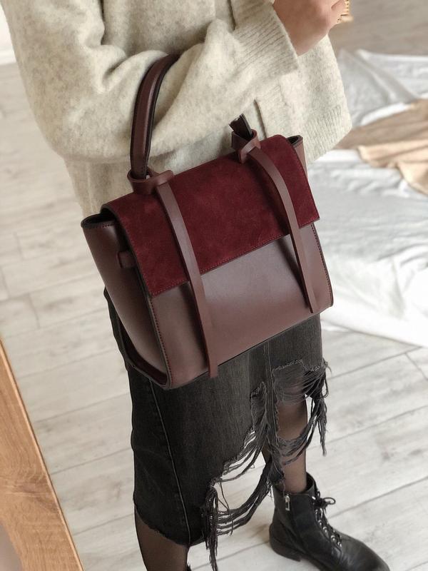 6 цветов! бордовая классическая сумка с ремешками вставка замш
