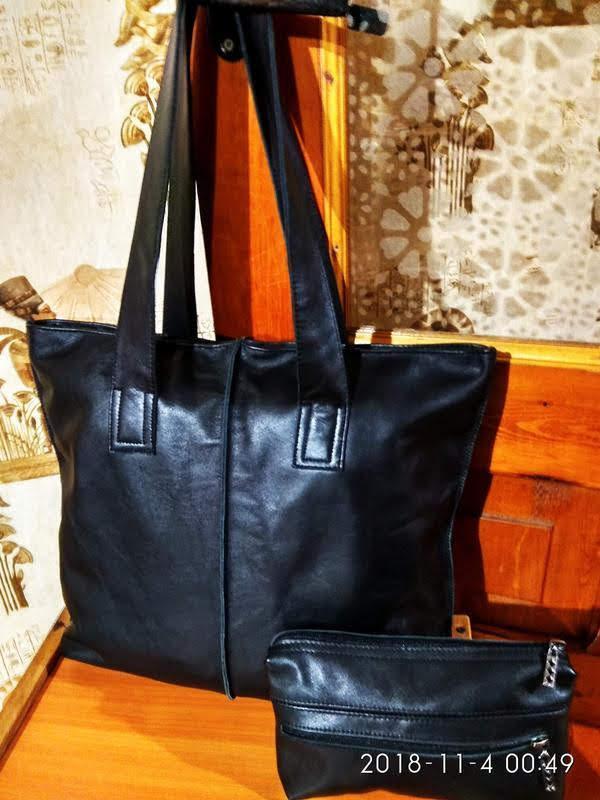 Кожаная сумка, в подарок косметичка