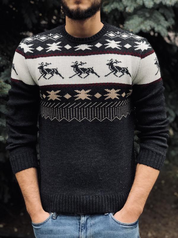 Вязанный свитер мужской ms morning star deer19