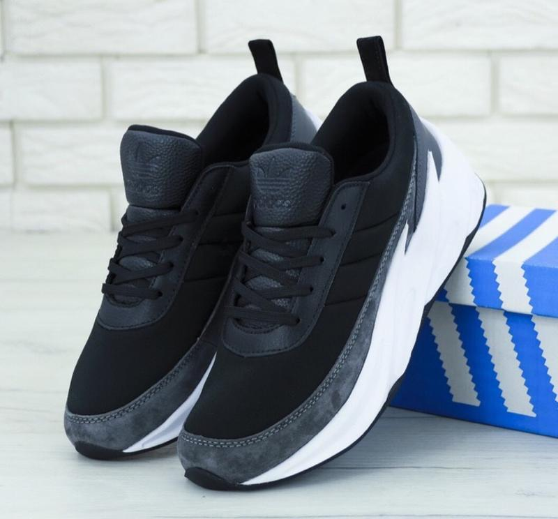 Кроссовки adidas sharks boost black grey white