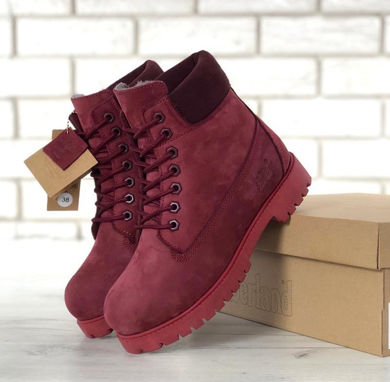 Женские ботинки timberland burgundy шерстяной мех