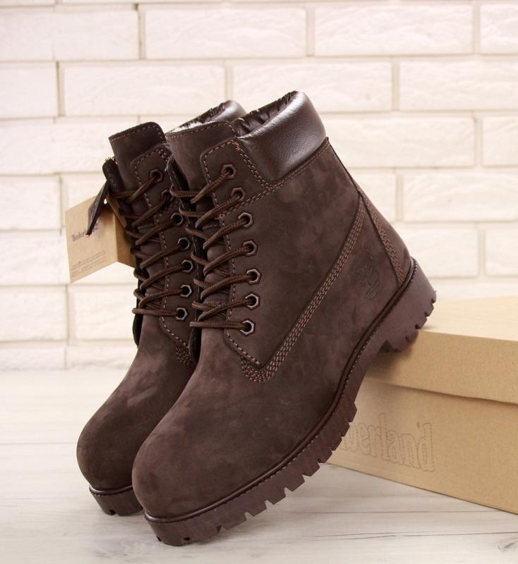 Мужские ботинки timberland brown шерстяной мех