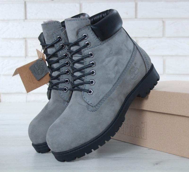 Мужские ботинки timberland grey black натуральный мех