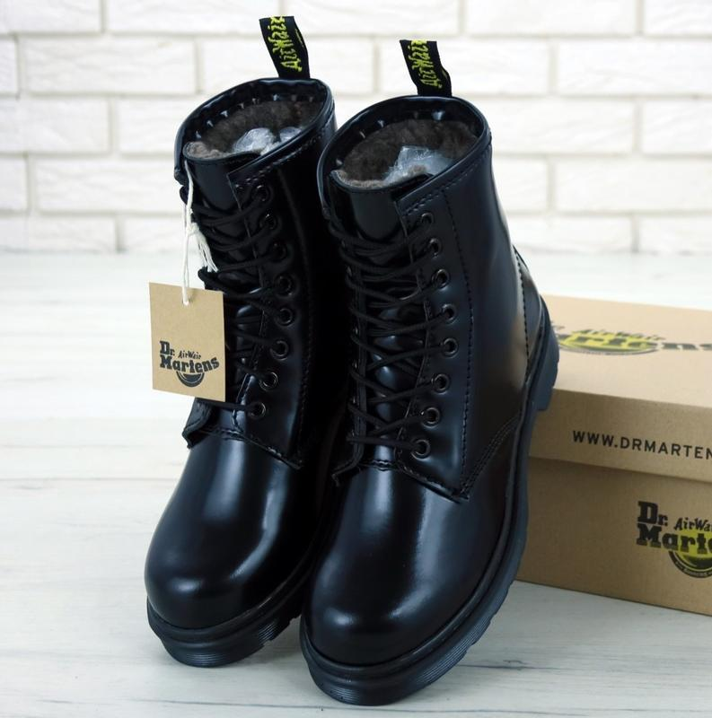 Женские ботинки dr. martens 1460 mono black искусственный мех