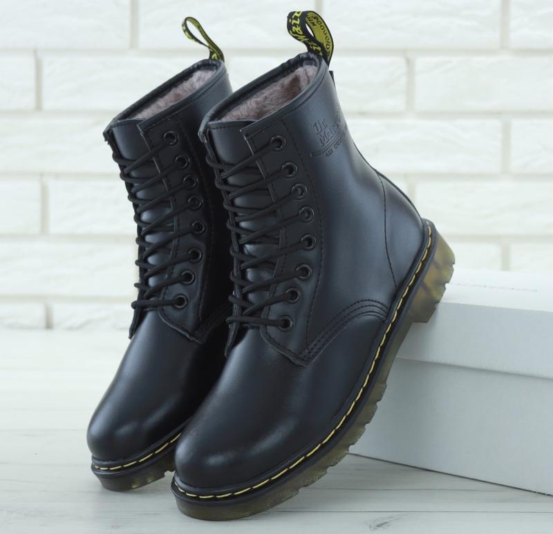 Женские ботинки dr. martens 1460 smooth black искусственный мех