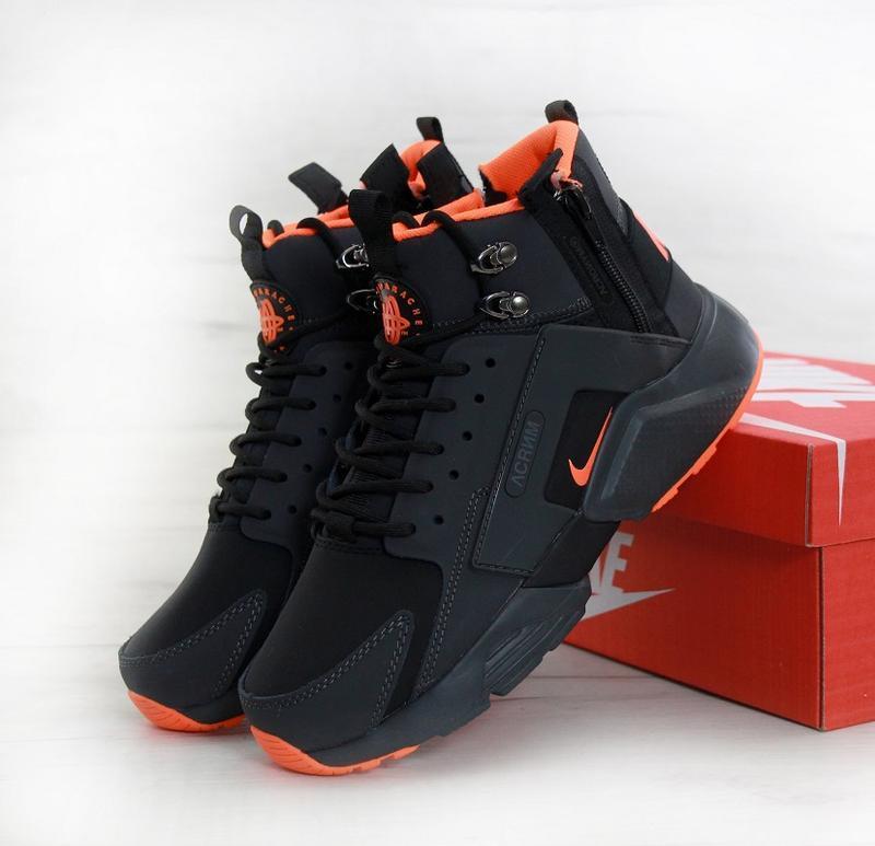 Кроссовки зимние nike huarache acronym black orange 41-45р.
