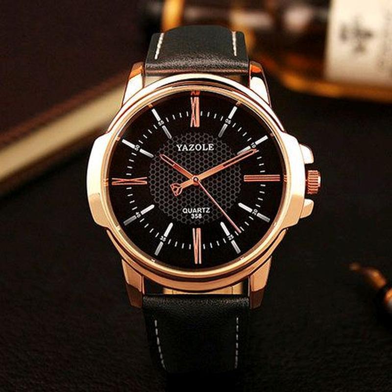 Мужские часы Yazole 358 черные с черным ремешком, часы наручный г