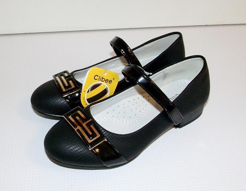 Черные детские туфли для девочек clibee румыния 31-36