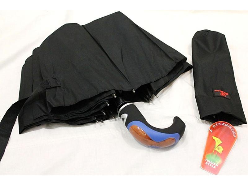 Зонт складной мужской в 3 сложения черный эпонж s.l. венгрия