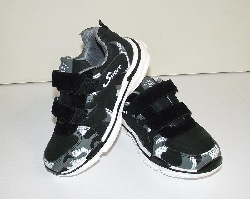 Кроссовки детские черные камуфляж 33-35