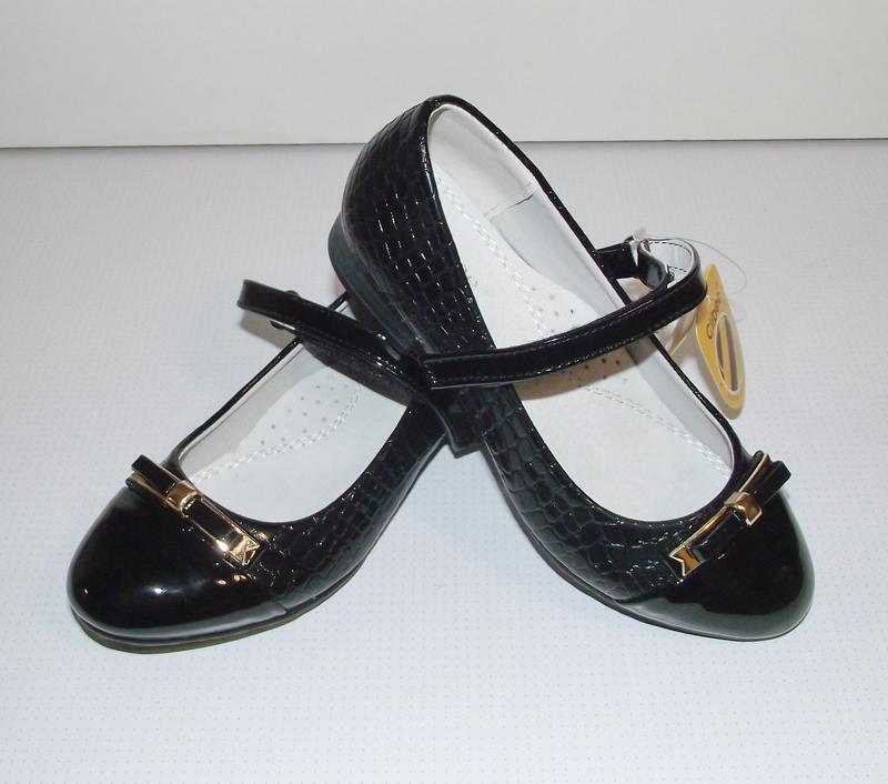 Черные детские туфли для девочек clibee румыния 34,35