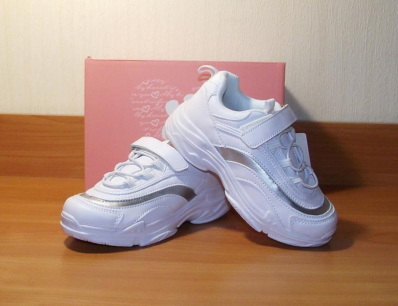 Белые модные кроссовки для девочек bi&ki