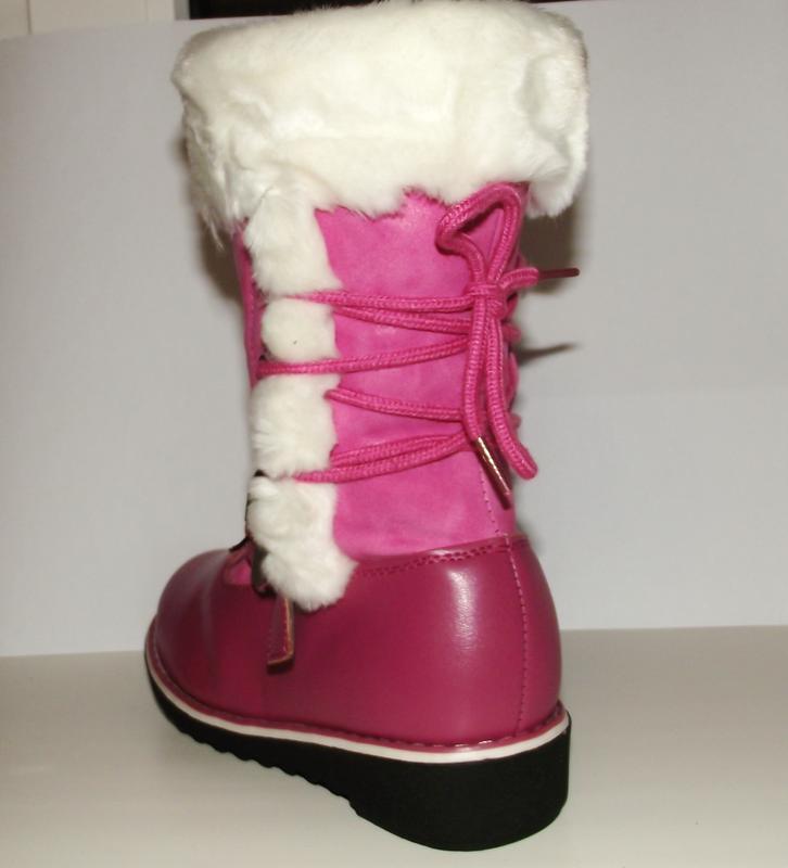 Зимние сапоги для девочек толстый мех розовые 27 разм