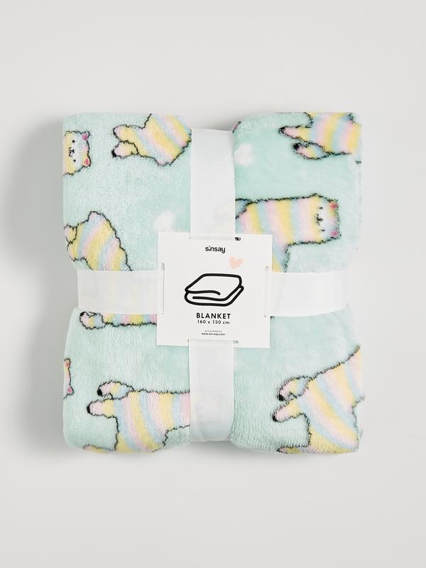 Новый светло-мятный бирюзовый плед одеяло покрывало польша при...