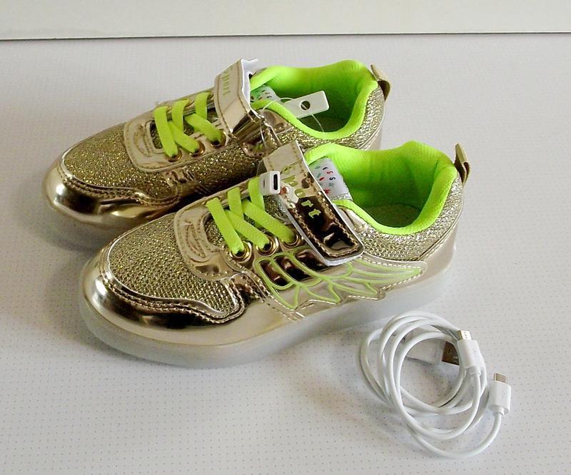 Кроссовки золотые светящиеся с usb зарядкой 32-35 - Фото 4